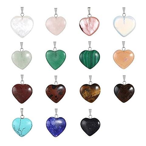 20 herzförmige Anhänger mit Edelsteinen von Cmidy, Heilsteine, Chakra-Perlen, Kristall, Quarz, Schmuckstein-Anhänger in verschiedenen Farben zur Herstellung von Halsketten, Ohrringen, Schmuck, mehrfarbig, 20mmX20mm(0.78x0.78inch)