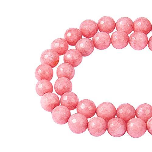 NBEADS 1 hebra 48 Piezas/hebra 8 mm Perla Rosa Natural Jade Cuentas de Piedras Preciosas para Collar y fabricación de Pulseras
