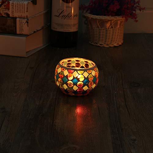 KING DO WAY Mosaic Glass Candle Holder Light Handle Tealight Candleholder Lantern Lamp Chimney Red Spot