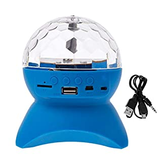 biaobiaoc Bluetooth Speaker Wireless Multi-Color Rotating Crystal Ball Stage LED Light USB TF Card AUV FM Radio MP3 Music DJ Disco Party Club Dance Hall