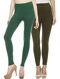 Sakhi Sang Leggings Pack of 2 : Green & Olive Green