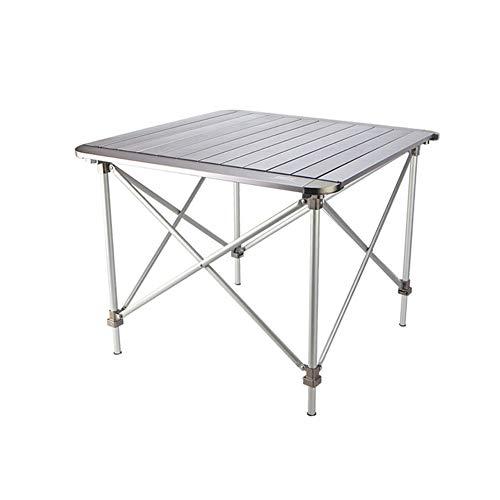 PeiQiH Extérieur Table Pliable, Portable Aluminium avec Sac de Transport Réglable Loisir Simple Table de Pique-Nique Compact Voyage Jardin Plage Table de Camping-Argent 69x69x47cm