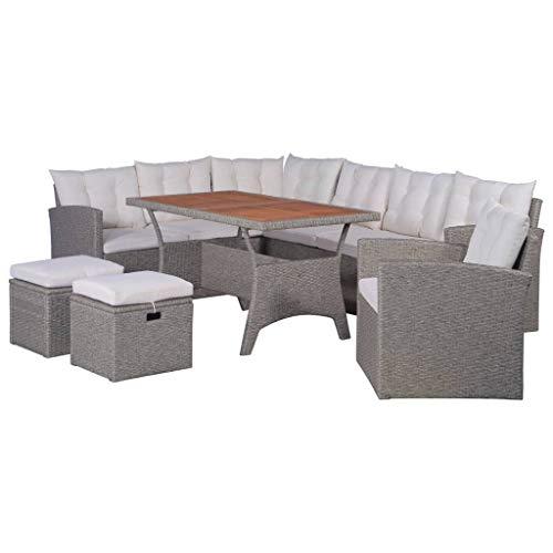vidaXL Gartenmöbel mit Auflagen 6-TLG. Sitzgruppe Lounge Sofa Gartensofa Sitzgarnitur Gartengarnitur Gartenset Tisch Ecksofa Sessel Hocker Poly Rattan Grau