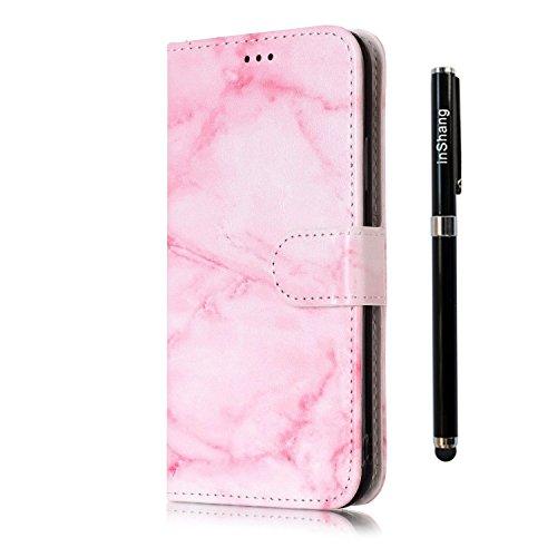 inShang Hülle für iPhone X 5.8 inch mit integriertem Brieftaschen-Design, iPhoneX 5.8inch cover case mit Standfunktion. + inShang Logo hochwertigen Stylus Eingabestift Stift pink marble