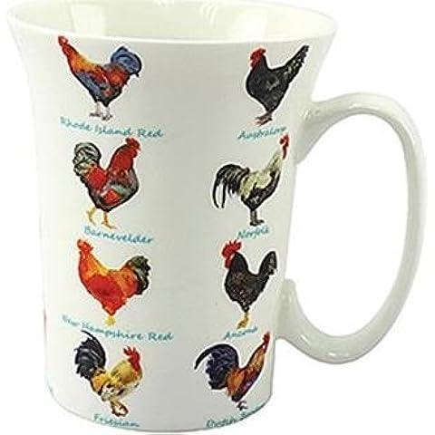 Diseño de gallinas de gallina rizado tipo corona para los amantes de los diseño de taza de porcelana en caja de regalo