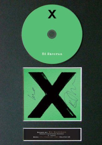 ED SHEERAN X ALBUM SIGNED CD PRINT