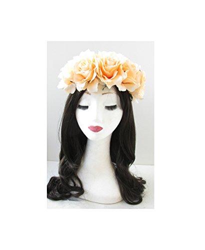 Grand Pêche Rose cheveux fleur couronne bandeau Garland Festival Vintage Big T66 * * * * * * * * exclusivement vendu par – Beauté * * * * * * * *
