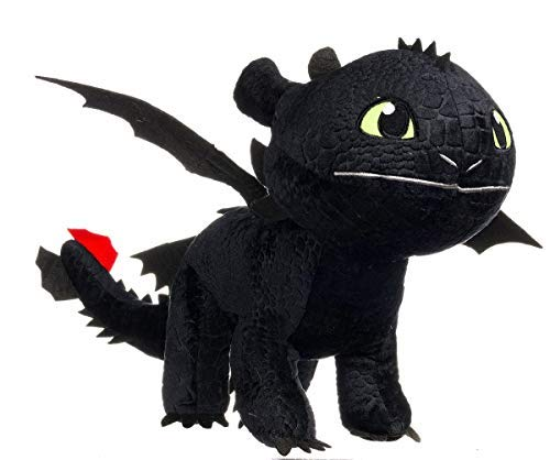 DreamWorks Animation Enorme PELUCHE XXL Dragons SDENTATO Furia Buia Dragone NERO Gigante 90cm Originale DRAGON TRAINER