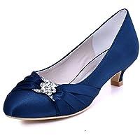 Elegantpark EP2006L Wedding Shoes for Bride Low Heel Women Round Toe Wedding Court Shoes Satin Rhinestones Bridal Shoes Navy Blue UK 7(EU 40)