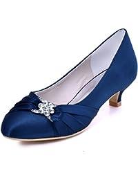 ElegantPark EP2006L Mujer Punta Chiusa Mini Tacón Rhinestones Plisado Satén Zapatos de Noche Zapatos ...