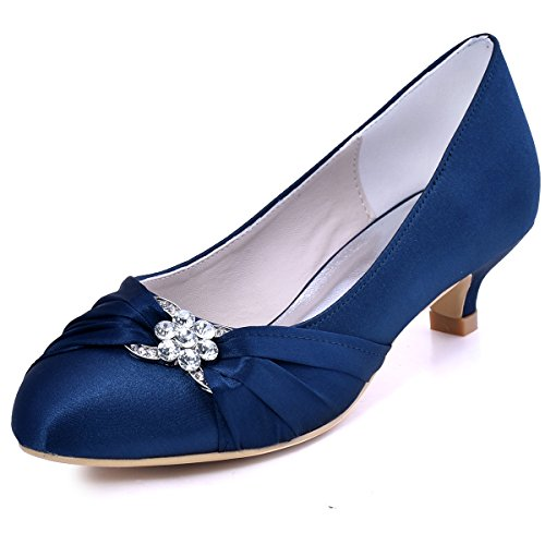 ElegantPark EP2006L Women Closed Toe Comfort Heel Rhinestone Satin Wedding Bridal Court Shoes Navy Blue UK 5(EU 38)