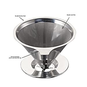 Aolvo Single Serve Coffee Filters Cone, Stainless Steel Cone Shaped Coffee Filter Resuable Pour Over Coffee Filter Cone Dripper for Home Kitchen Office Camping and Travelling