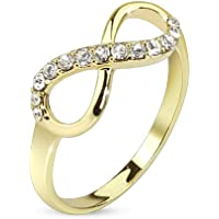 bungsa® infinity simbolo infinito oro sottile misure 60(495254Anello amante coppia di anelli anelli di nozze anello di fidanzamento anello donna in ottone)