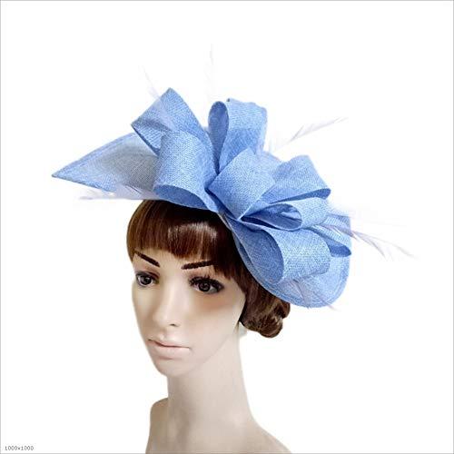 Ich werde jetzt Maßnahmen ergreifen Mädchen-Dame Lady Feather Hat Clip Hochzeits-Cocktail-Teeparty-Haar-Zusätze (Color : Blue)