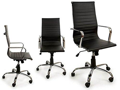 Takestop sedia ufficio cuoio sintetico con 4 ruote con schienale alta nero 60x61x112 cm ergonomica girevole poltrona design altezza regolabile