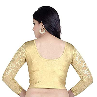 Life win Lycra Cotton golden Round Neck Readymade Stretchable Blouse For Women in long sleeves