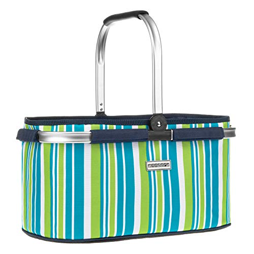 anndora Einkaufskorb 22 Liter Korb Picknickkorb - dunkelblau Limette