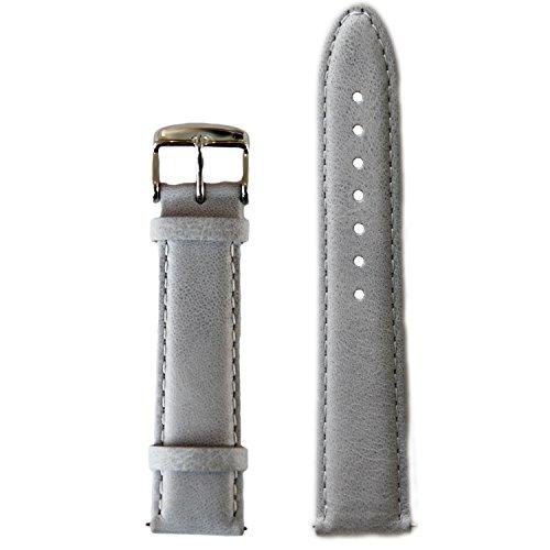 BULLAZO Uhrenarmband mit Schnellwechselfunktion, 20mm, Leder, Grau Silber