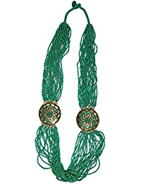 Bangasree Green Beads Long Necklace For Women