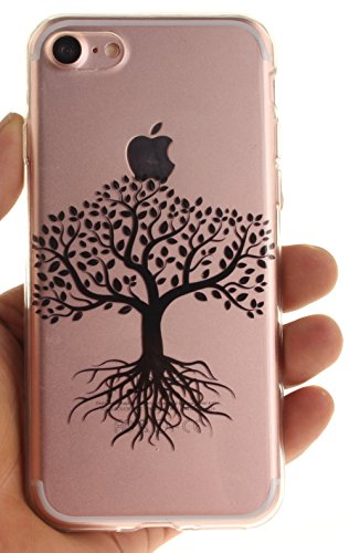 Nnopbeclik Silikon Transparent Hülle Für Apple Iphone 7, Ultra Slim Weich TPU Cover Case Neu Design Super Durchsichtig Hohl Luxus Bling Blume Case Etui, Schutzhülle Muster Glänzend Glitzer Strass Kris #8