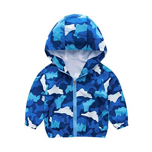 Blauen Mantel Kostüm Tragen Kleinkind - Dasongff Oberbekleidung Kinder Jacke Jungen Regenjacke Frühling Herbst Winter Windjacke mit Süßem Pattern Windjacke Regenjacke mit Kapuze Blauer Regenbogen