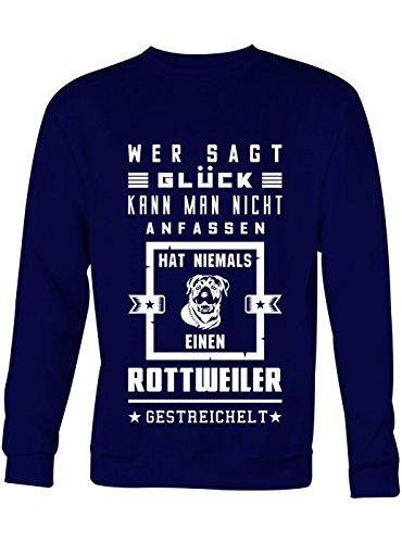Rottweiler Pullover (Rottweiler Premium Sweatshirt Glück Sprüche-Shirt Haustier Unisex Sweatshirts, Farbe:Dunkelblau;Größe:S)