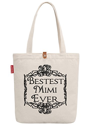 So'each Women's Best Mimi Ever Graphic Canvas Tote Shopper Shopping Bag (Tiger Bag Tote Canvas)