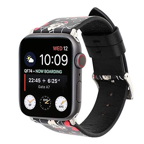 KKSY Ersatzband Cartoon Style Lederband Kompatible Apple Watch mit 38mm 42mm 44mm 40mm Kompatible iWatch Serie 4 Serie 3 Serie 2 Serie 1,Boy-Mouse-Black,44/42MM