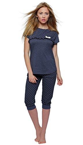 SENSIS edler Baumwoll-Pyjama Hausanzug aus wunderschönem Oberteil und toller Capri-Hose mit Bündchen, marineblau, Gr. XL (42) (Capri-baumwoll-overalls)