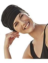 Gorro de baño -piscina y playa- negro específico para mujer con quimioterapia