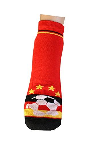 Weri Spezials Femmes et Hommes ABS Football Chaussettes Pantoufle Chaussons Antiderapants 35-38 Noir/Rouge/Or