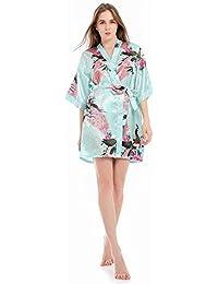Bata Kimono Floral,Bata Corta Vestido de Satén Albornoces Personalizados Mujeres Bata de Seda Dama de Honor Pijamas Lencería para…