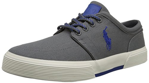 Ralph Lauren Mens Faxon Low SK VLC Canvas Trainers Grey