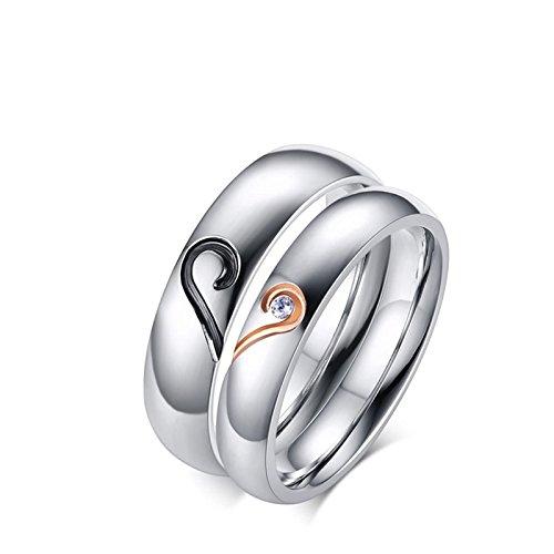 Anazoz acciaio inossidabile 2cps set argento puzzle anelli coppia fidanzamento cuore donna misura 10 & uomo misura 17