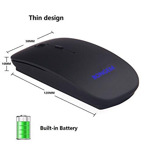 bongem® ultrafino ratón inalámbrico recargable de 2,4GHz integrado 800mAh Batería para la PC del ordenador portátil con nano receptor