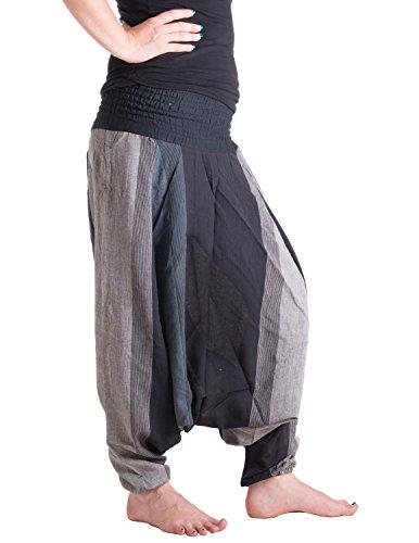Vishes – Alternative Bekleidung – Gestreifte Sommer Haremshose aus Baumwolle mit elastischem Bund – handgewebt schwarz-grau Einheitsgröße 34 bis 44 (Hosen Hose Gestreifte)
