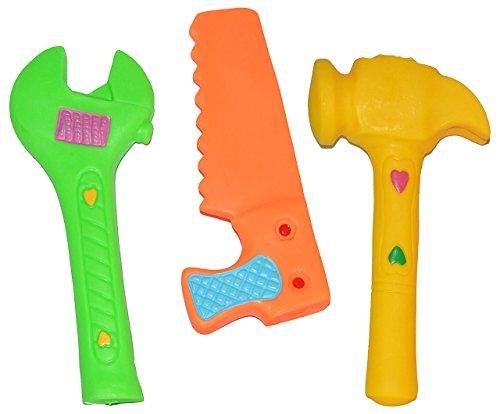 Unbekannt 1 Stück: Quietscher / Gummiwerkzeuge - als lustiges Werkzeug - BPA frei - Hammer - Säge - Maulschlüssel - in bunten Farben / für Baby - Quietschtier / Figur Q..