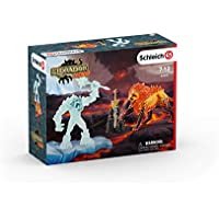 Schleich Battle for The Superweapon-Frost Monster vs. Fire Lion Temple de Lave Secret avec Super Arme, 42455, Gris