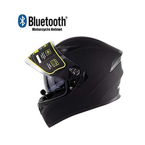 OUYA Casco Integrale Moto con Bluetooth,Casco Moto Donna e Uomo,Casco da Motocross Doppia Visiera Anti-Fog,Microfono con Altoparlante Incorporato per Risposta Automatica,ECE Omologato,Nero,M
