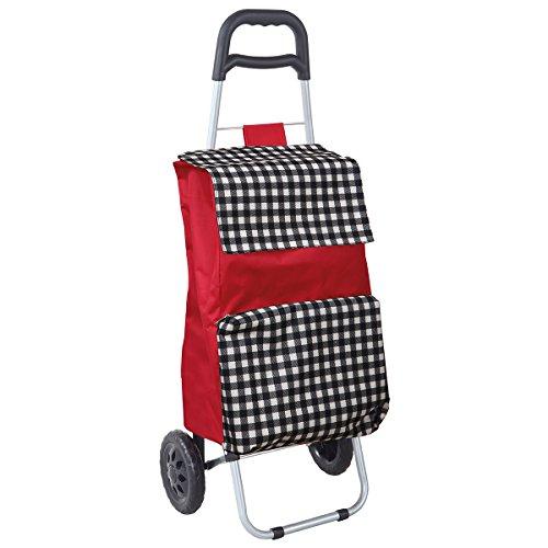 LAROOM Einkaufstrolley Faltbar mit Tasche Kühltasche 46x36x97 cm rot