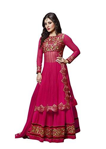 Aryan Fashion Store Women\'s Georgette Lehenga choli (ERRR10607_Dark Pink_Free Size)
