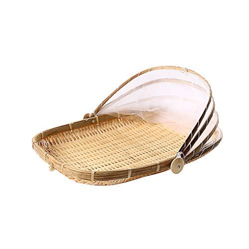Kongnijiwa Anti-Insekt Staubdichtes Korb Frucht-Gemüse-Tray Mesh-Drying Handfeger Handgefertigte Bambus Food Storage Basket