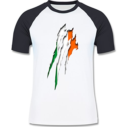 Länder - Irland Krallenspuren - zweifarbiges Baseballshirt für Männer Weiß/Navy Blau