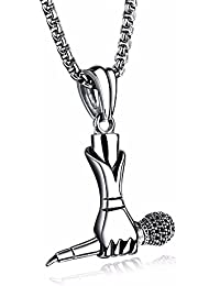 f6a5ff8452bf Asma Jewel House Hiphop Rapper DJ Night Club Microphone Stainless Steel  Pendant Necklace for Men and