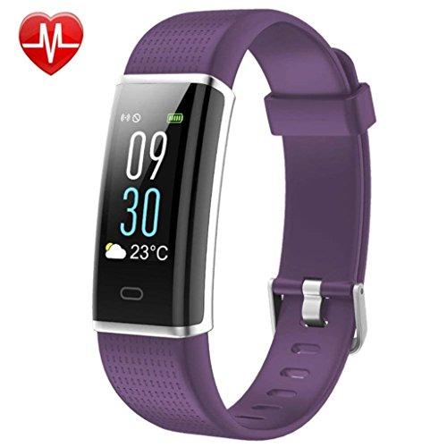 Liqiqi Fitness-Tracker, Fitness-Armbanduhr Aktivitätstracker mit Pulsmesser WatchX violett