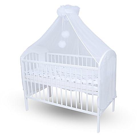 Callyna ® - Ciel de lit bébé XXL avec support, voile Blanc grande taille. Moustiquaire décorative pour lit bébé. Pompon