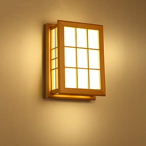 Hines Lámpara de pared LED simple de madera maciza de estilo japonés Lámpara de tatami Dormitorio...