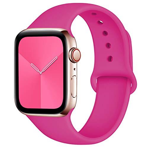 Zekapu Compatibile con Apple Watch Cinturino 38mm 42mm 40mm 44mm, Morbido Silicone Ricambio Classico Cinturini per Apple Watch...