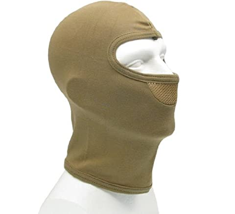BE-X Mask / Balaclava, with breathable frontal insert, 100% cotton - TAN