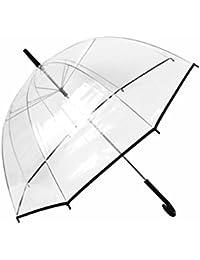 Parapluie transparent forme en cloche (61/1932) très tendance et charmant avec son léger bord noir sa transparence lui procure une sensation de légèreté Facile à porter grâce à sa poignée courbée